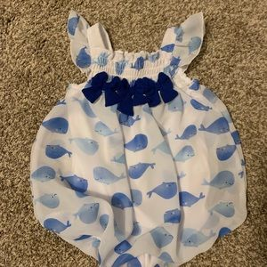 Bubble baby girl whale outfit